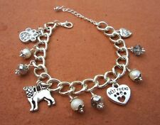Pug Dog Charm Bracelet with Freshwater Pearls & Swarvoski Crystals