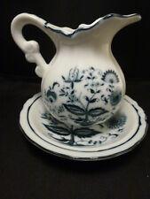 Vintage Blue & White Toile Blue Onion Blue Danube Pitcher & Basin Japan  smaller