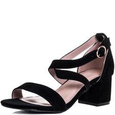 Block Heel Faux Suede Sandals for Women
