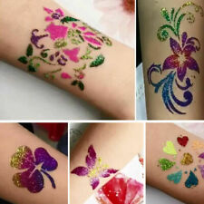 Temporary Body Art Shimmer Glitter Powder Tattoo Stencils Kit Tool- Glue Br B3W6