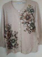 Womens Alfred Dunner Beige Gold Metallic  Cardigan Sweater Sz M