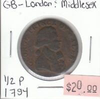 Great Britain Half Penny Token - 1794 London & Middlesex