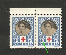 "ROMANIA-MNH PAIR- ERROR , DOT IN NUMBER ""5""- RED CROSS - Queen Mother Elena-1945"