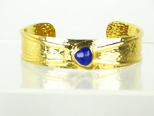 MELINDA MARIA Gorgeous Gold Plated Hammered & Faceted Lapis Lazuli Cuff Bracelet