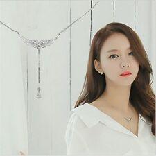 Drop 925 Sterling Silver Choker Necklaces Zircon Angel Wings Women's Jewelry