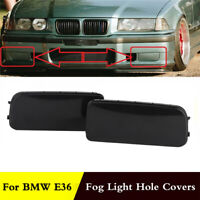 For BMW 318is 320i 323i 325i Front Fog Light Lamp Hole Cover Cap Black ABS Pair