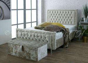Soft Touch Sleigh Bed Frame - Plush Velvet - 3ft Single,4ft, 4ft6 , 5ft , 6ft