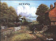 Guyana Blok 93 gestempeld 1990 Stoomlocomotieven