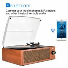 Bluetooth Vintage Vinyl Record Player 3-Speed Turntable Built-in Stereo Speakers