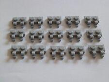 Lego 60470# 15x placa 1x2 con 2 clips gris nuevo gris claro 10188 8016 7674 7964