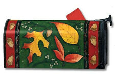 """AUTUMN ACORNS COLORFUL FALL LEAVES LEAF TOSS MAGNETIC MAILBOX COVER 1"""" NUMBERS"""