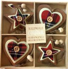 8 X Christmas Tartan Scottish Rustic Wooden xmas Tree Decorations Heart Star