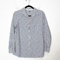 Old Navy White and Blue Striped Heart Button Up Top Womens Size M