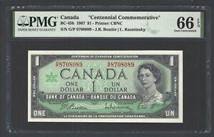 Canada One Dollar 1967 BC-45b Uncirculated Grade 66