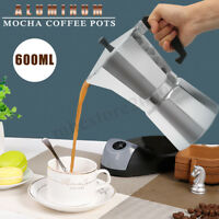 600ML 12 Cup Coffee Moka Pot Stove Percolator Maker Top Expresso Latte Aluminum