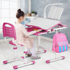 Kids Study Desk Chair Set Height Adjustable Children Table Drawer Lamp Girl Pink