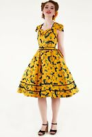DRA8647 Voodoo Vixen Savannah Mustard Cat Print Dress New Xmas UK Gift Size8-16
