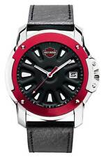 Harley-Davidson Men's Watch, Spoke Design, Red Top Ring w/ Leather Strap 78B119