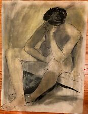 Nude Sitting with Crossed Feet Oil Crayon & Ink Drawing-1965-August Mosca