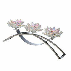 Contemporary Lotus Shaped Glass Candle Holder with C Shape Base,Silver