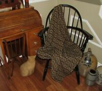 "Prim Antique Vtg Style Blk/Tan Cotton Bramwell Woven 32"" COVERLET Square AQ81SS"