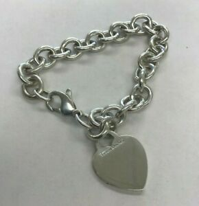 """Tiffany & Co. 925 Sterling Silver Heart Tag Charm Chain Bracelet 7.5"""""""