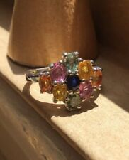 Brand NEW Genuine Multi Sapphires Cluster Ring, High Polish Platinum Size 5