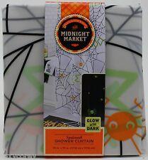 Halloween Midnight Market Spiderweb Glow in the Dark PEVA Shower Curtain 70x70