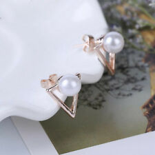 Two Sides Ear Stud Jewelry l Women Rose Gold Triangle Pearl Stud Earrings