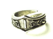 ISA Viking Dragon Head Rune Ring ,control willpower, Letter 'I'. Adjustable