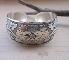 Tibetan Tibet Silver Totem Peony Flower Peony Lotus Bangle Cuff Bracelet