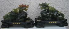 2 Löwe Drachen Figur China Glücksbringer Symbol Statue grün Jade-Optik 21x15cm