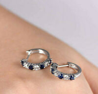 1 Ct Blue Sapphire & Sim Diamond Huggie Womens Earrings 14K White Gold Plated