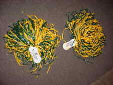 "2 - Full 10""Gold & Green Bay Packer Cheerleader Pom Pon Poms Costume Football X"