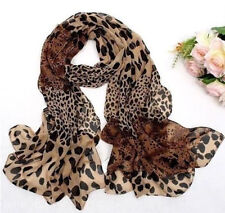 Fashion Women's Long Soft Wrap Lady Shawl Silk Leopard Chiffon Scarf New