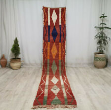 """Moroccan Boujad Handmade Vintage Runner 2'1""""x11' Geometric Red Berber Wool Rug"""