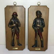 Vtg Revolutionary Soldiers Army Minute Men Colonial Wooden Wall Plaques Set of 2