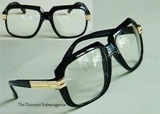 Clear Lens Retro Gazelle DJ Hip Hop Square Black Frame Sun Glasses _Gold Accents