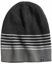 90 UNDER ARMOUR MEN S GRAY STRIPED BEANIE WARM WINTER CAP HAT SKI One Size 93f66049f206