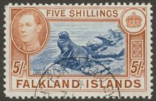 Falkland Islands 1938 KGVI 5sh Indigo and Pale Yellow-Brown Used SG161b cat £90