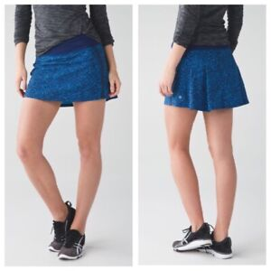 Lululemon Pace Rival TALL Pleated Lined Skirt Women's SZ 8 Samba Snake Blue EUC