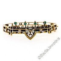"Vintage Victorian Revival 6.25"" 14K Gold Emerald Seed Pearl Open Bangle Bracelet"