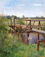 Large art Oil painting simple bridge over the creek in summer landscape canvas