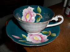Shafford China Hand DecoratedTeal & Gold Cup Saucer Flowers Gold  JAPAN
