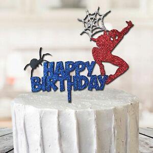 Spiderman Marvel Cake Topper Super Hero Glitter MDF Birthday Party Boy Web Decor