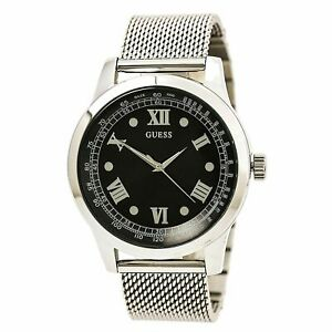 New Guess Sport U0683G1 Black Dial Stainless Steel Mesh Bracelet Men's Watch