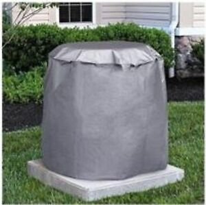 "Round Central Air Conditioner Cover 30"" H x 34"" Dia. Gray w/ elastic strap"