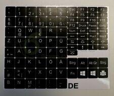 Deutsche QWERTZ Tastatur-Aufkleber für Notebooks / Laptops Schwarz Hochwertig