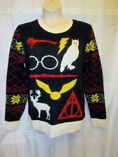 Junk Food XL Harry Potter Cardigan Sweater Deconstructed Abstract Owl Glasses