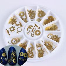 3D Nail Art Decoration in Wheel Retro Golden Clock Gear Design Manicure Tips